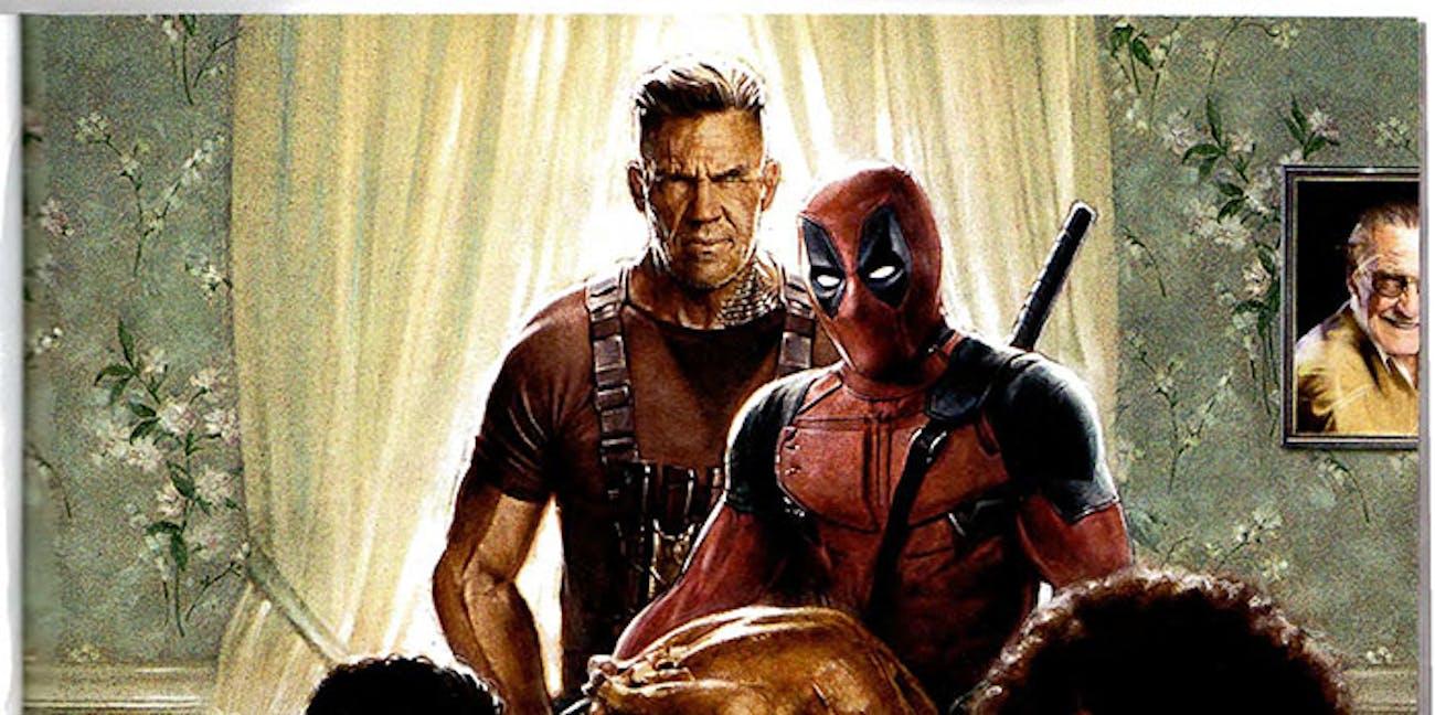 The 'Deadpool' fam unites for a turkey dinner.
