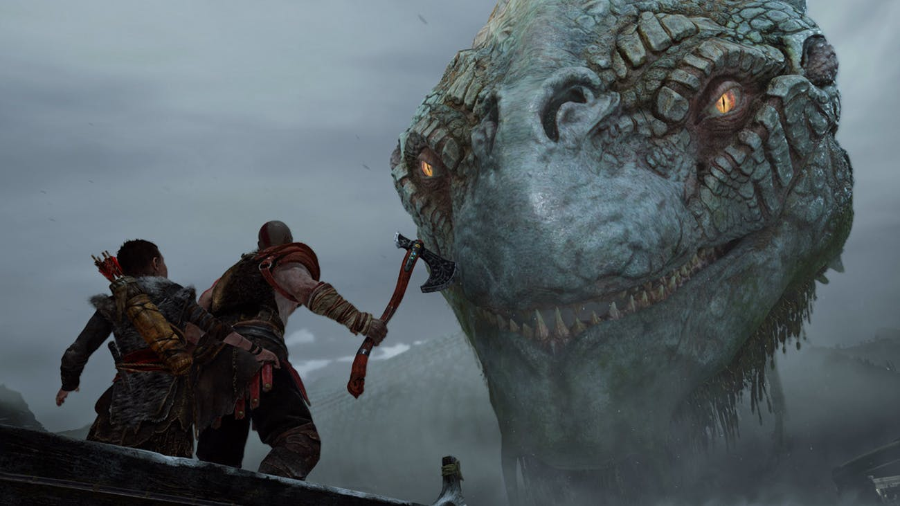 Kratos and Atreus encounter a fearsome-looking monster in 'God of War'.
