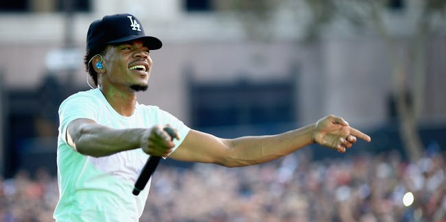 LOS ANGELES, CA - AUGUST 31:  Chance The Rapper performs on the Dylan Stage during day 2 of the 2014 Budweiser Made in America Festival at Los Angeles Grand Park on August 31, 2014 in Los Angeles, California.  (Photo by Christopher Polk/Getty Images for Anheuser-Busch)