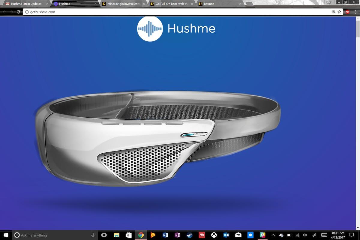Hushme's new design looks a little bit less like Bane from Batman.
