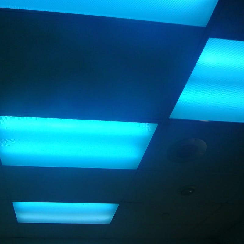 blue lights to deter drug users from using in bathrooms have big