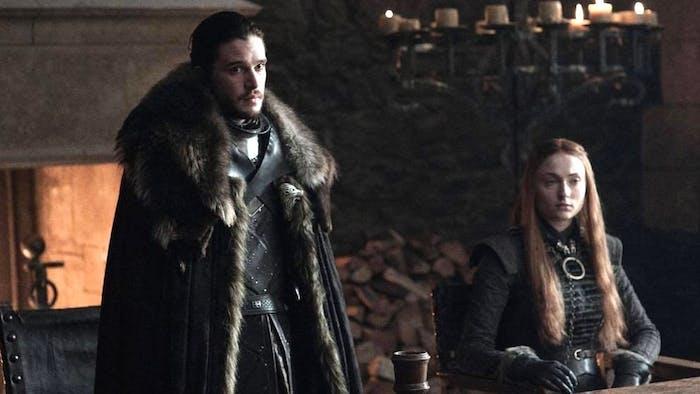Kit Harington and Sophie Turner in 'Game of Thrones' Season 7