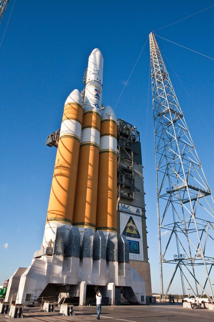 The Delta 4-Heavy rocket, set to launch NROL-37 into orbit, receives a final round of inspection.