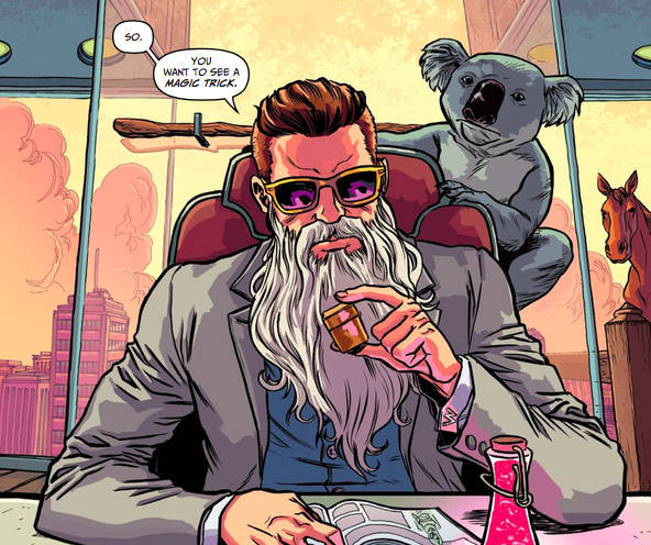 The comic's hero, Wizord, chills with his smart little koala.