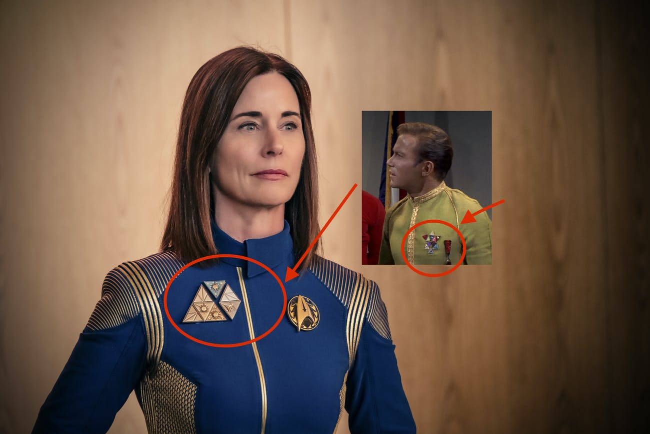 Cornwell's medals match Kirk's in the original series.