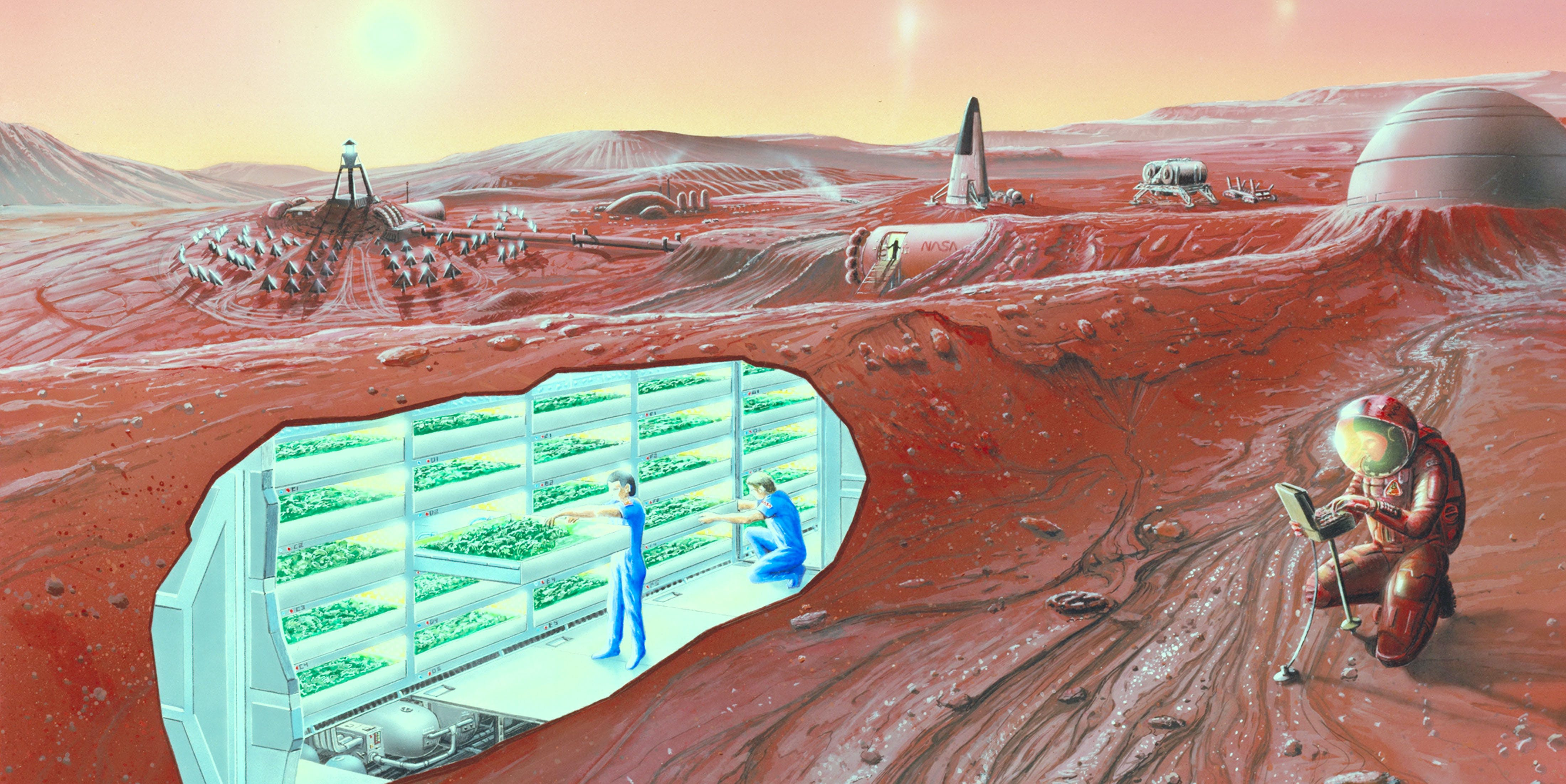 An artist's conception of a human Mars base, with a cutaway revealing an interior horticultural area
