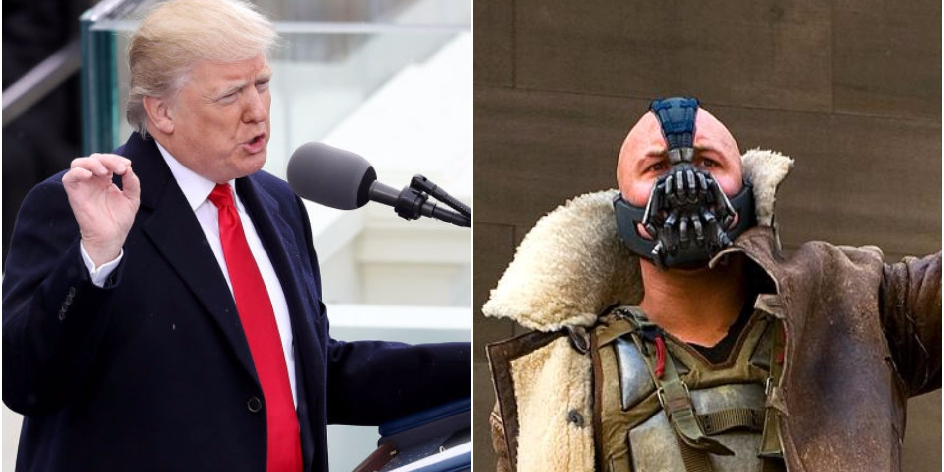 DC Comics Bane and Donald J. Trump the 45th President of the U.S.