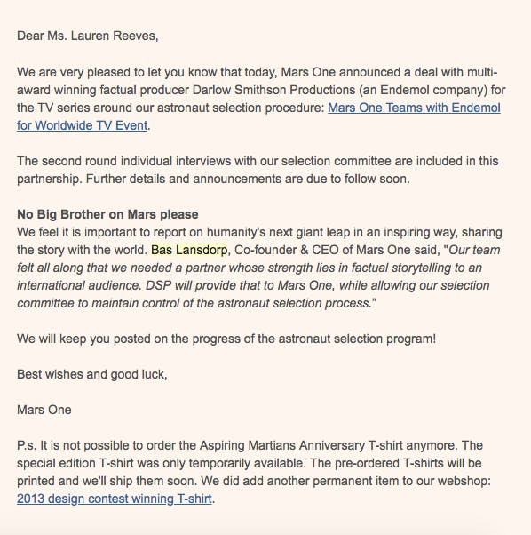An email to Mars One candidate Lauren Reeves announcing a TV deal that eventually fell through.