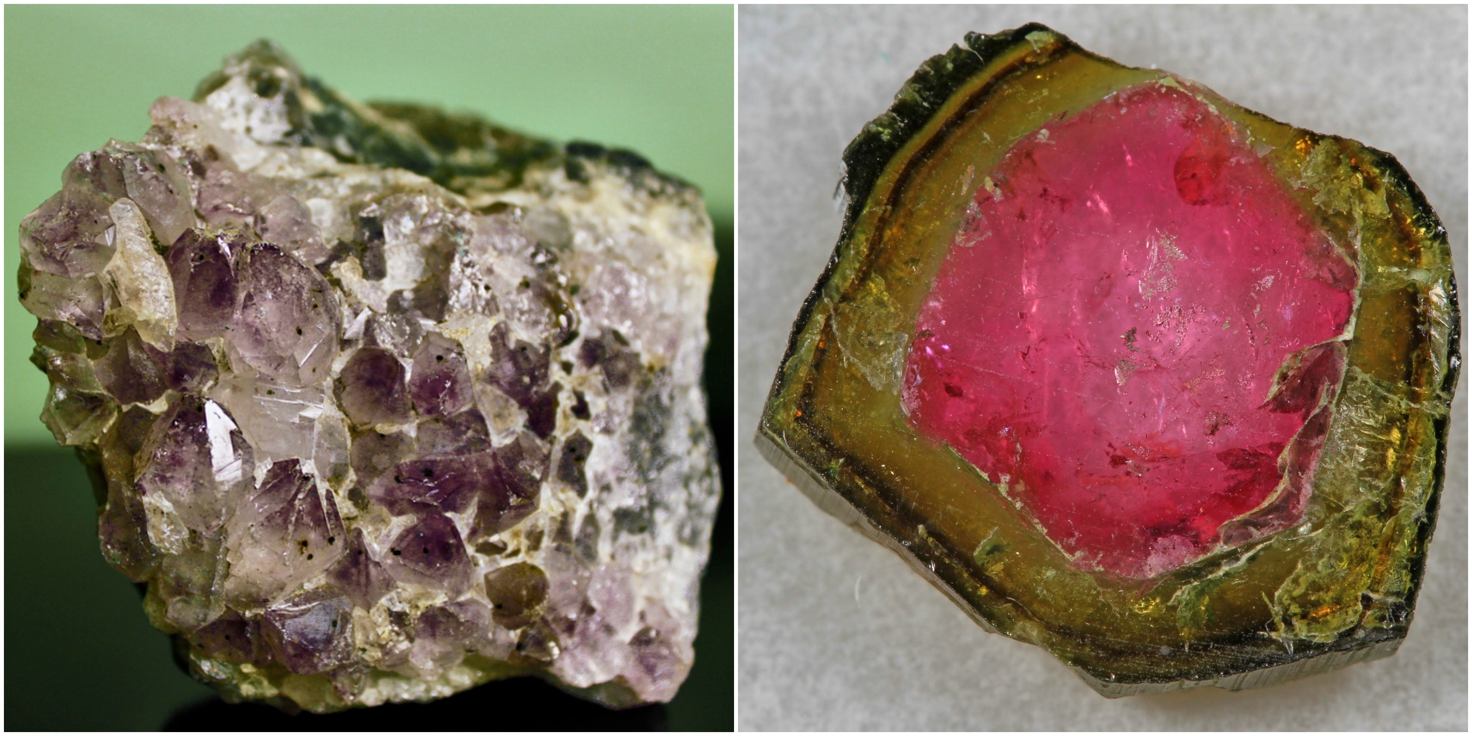 Amethyst (left) andWatermelon Tourmaline (right).