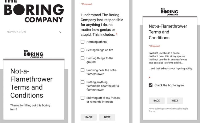 Boring Company terms as outlined.
