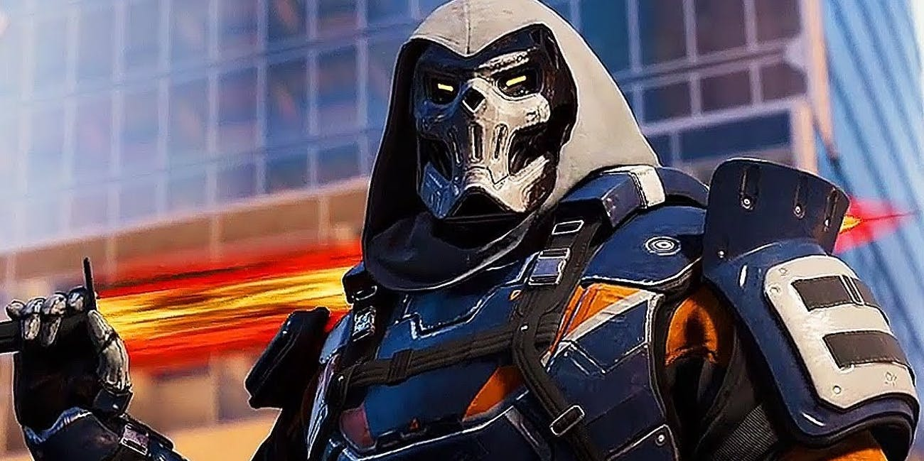 Taskmaster, as seen in Marvel Comics, with blue and orange suit