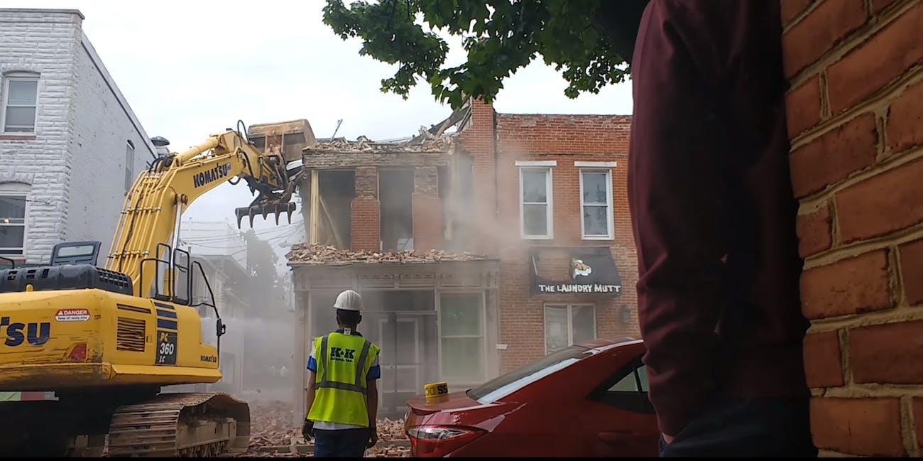 Baltimore demolition fail video
