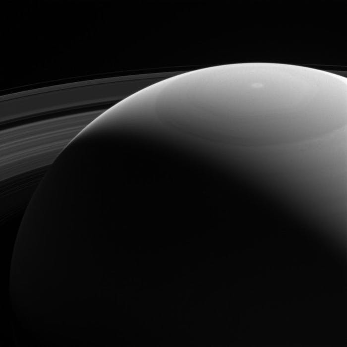 Cassini captured an image of Saturn looking towards the sunlit side.  The spacecraft will end its mission in September when it plunges into Saturn's atmosphere.
