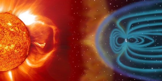 Concept art of space weather.
