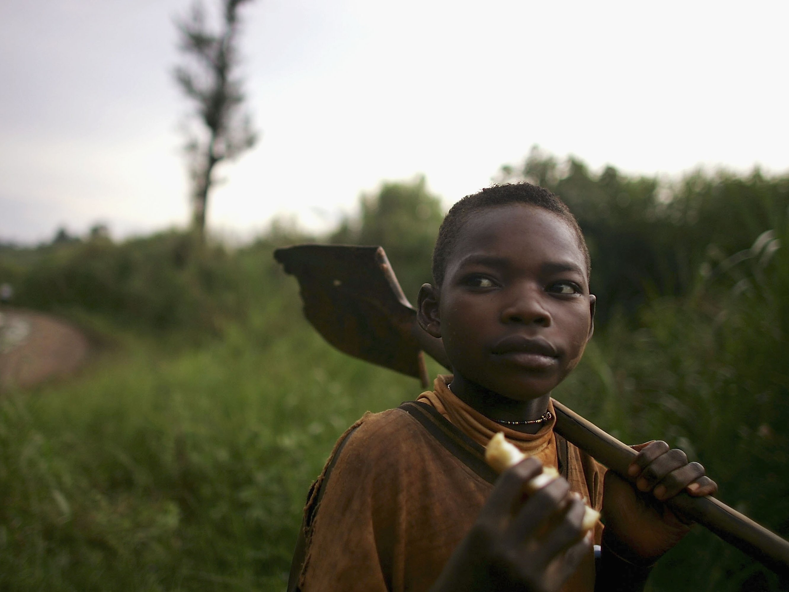 MONGBWALU, CONGO - MARCH 27:   A boy carries a shovel on his way home from the gold mine pits March 27, 2006 in Mongbwalu, Congo.