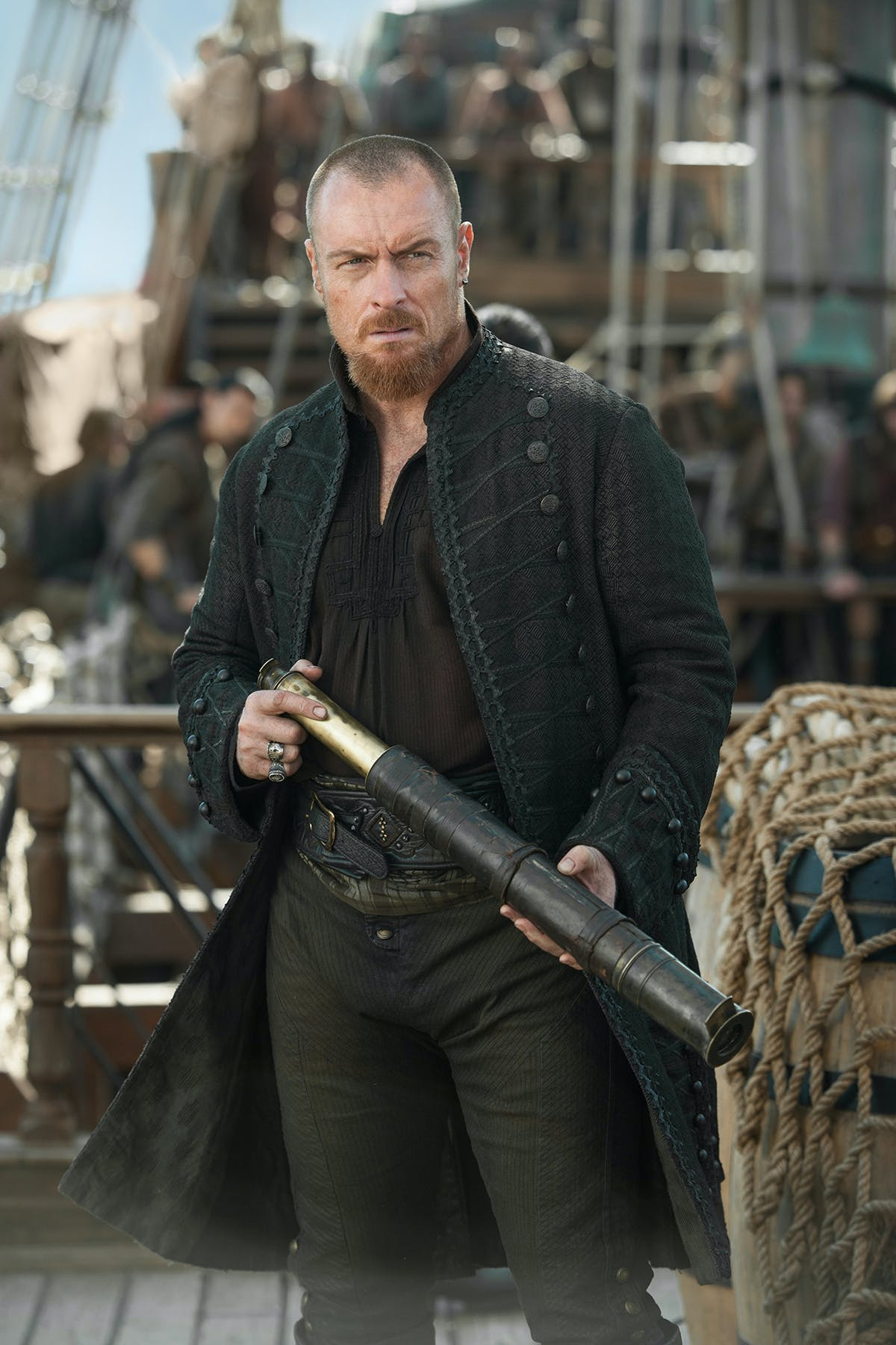 Toby Stephens as James Flint on the final season of 'Black Sails'