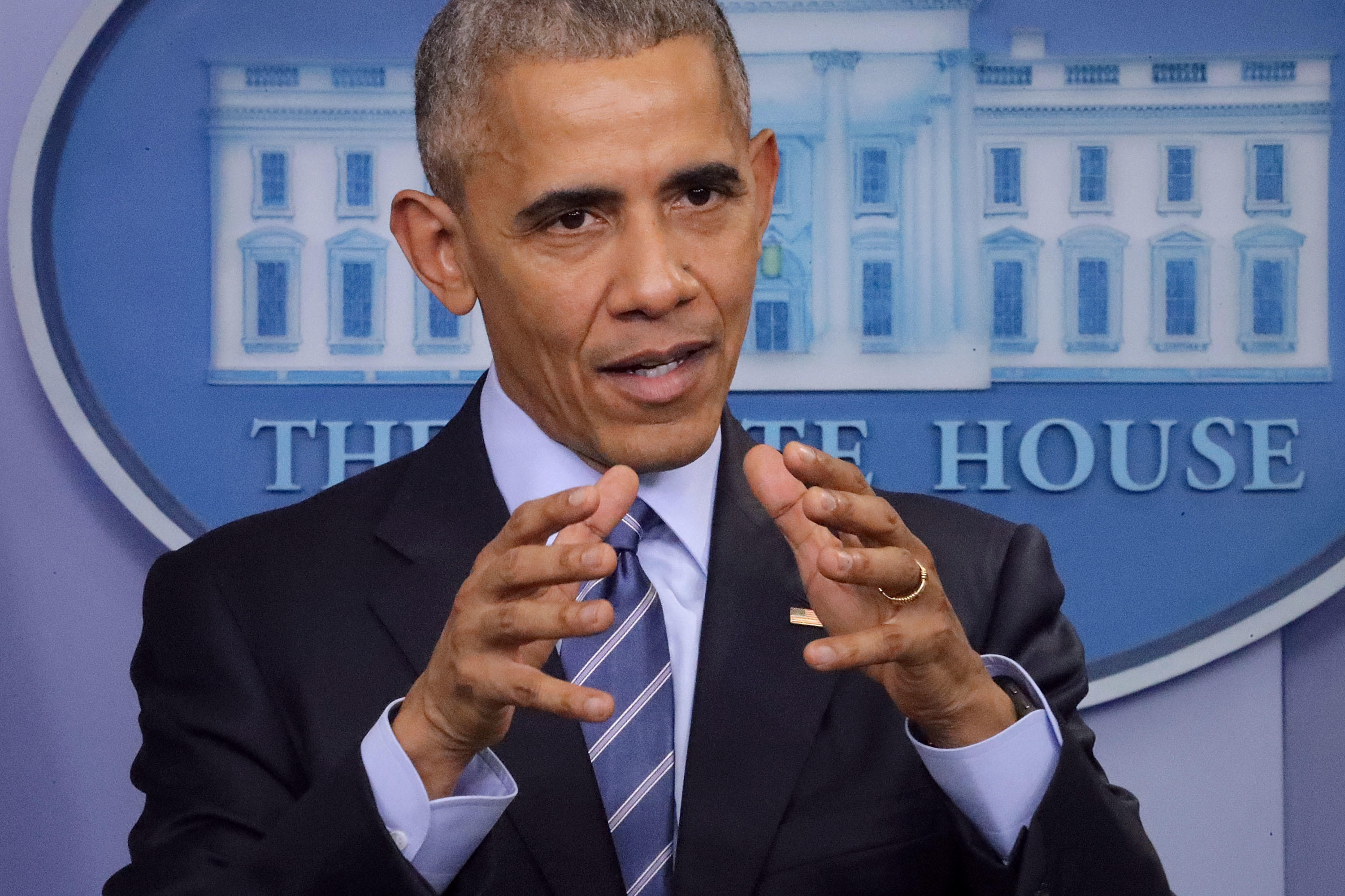 U.S. President Barack Obama speaks during a news conference in the Brady Press Briefing Room at the White House.