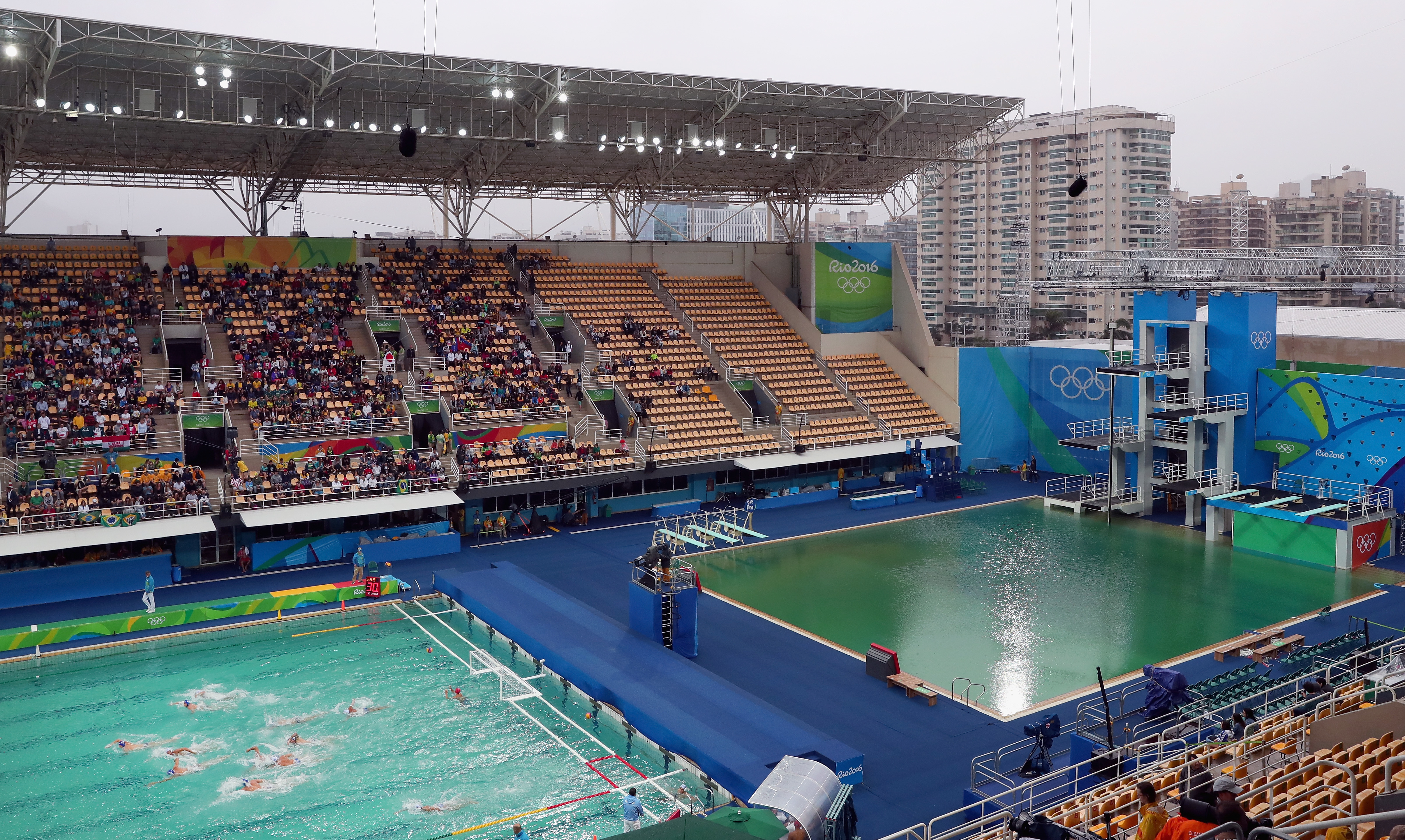 It started in the diving pool, then it got the water polo pool -- it was a whole mess.