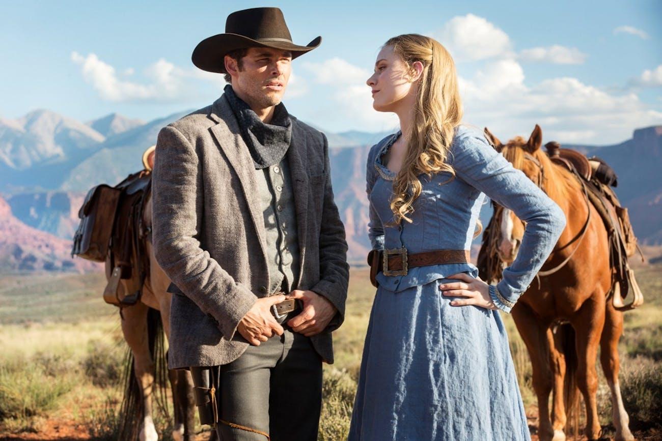 James Marsden as Teddy and Evan Rachel Wood as Dolores Abernathy