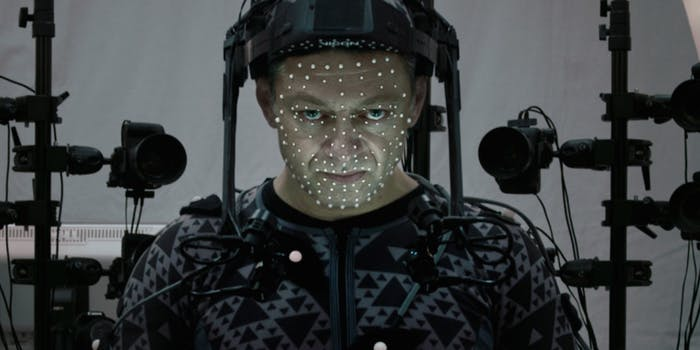 Snoke actor Andy Serkis in motion capture gear.