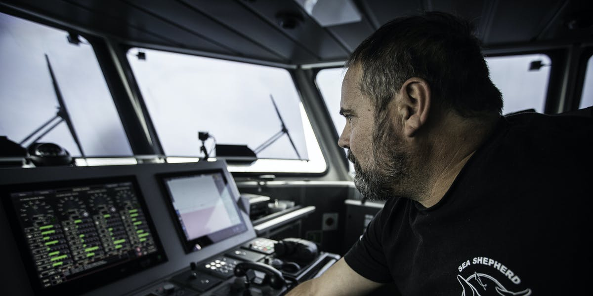 Captain Adam Meyerson takes the helm of the 'Ocean Warrior'.