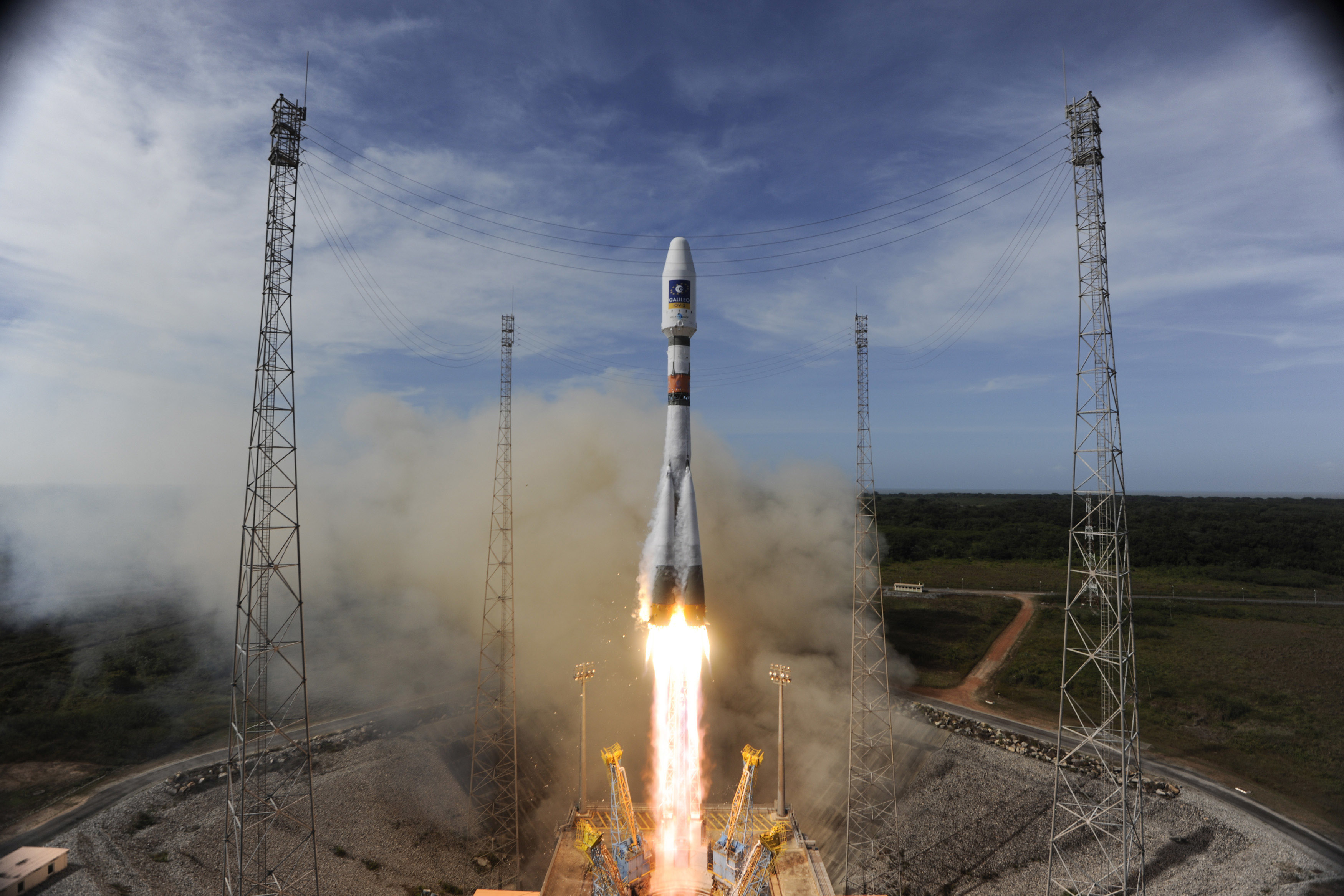 The Soyuz rocket lifts off from Europe's Spaceport in French Guiana on its mission to place the second pair of Galileo In-Orbit Validation satellites into orbit, on October 12, 2012. Galileo will become fully operational by 2020 and intends to give Europe full independence from the U.S., Russian and Chinese controlled GPS systems.