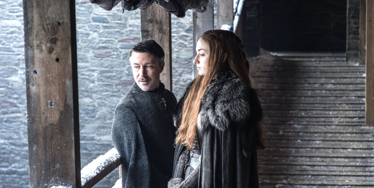 Aiden Gilen and Sophie Turner in 'Game of Thrones' Season 7
