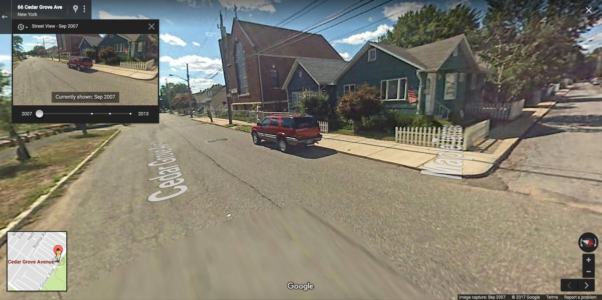 Google Street View map cars camera shoreline before Hurricane Sandy