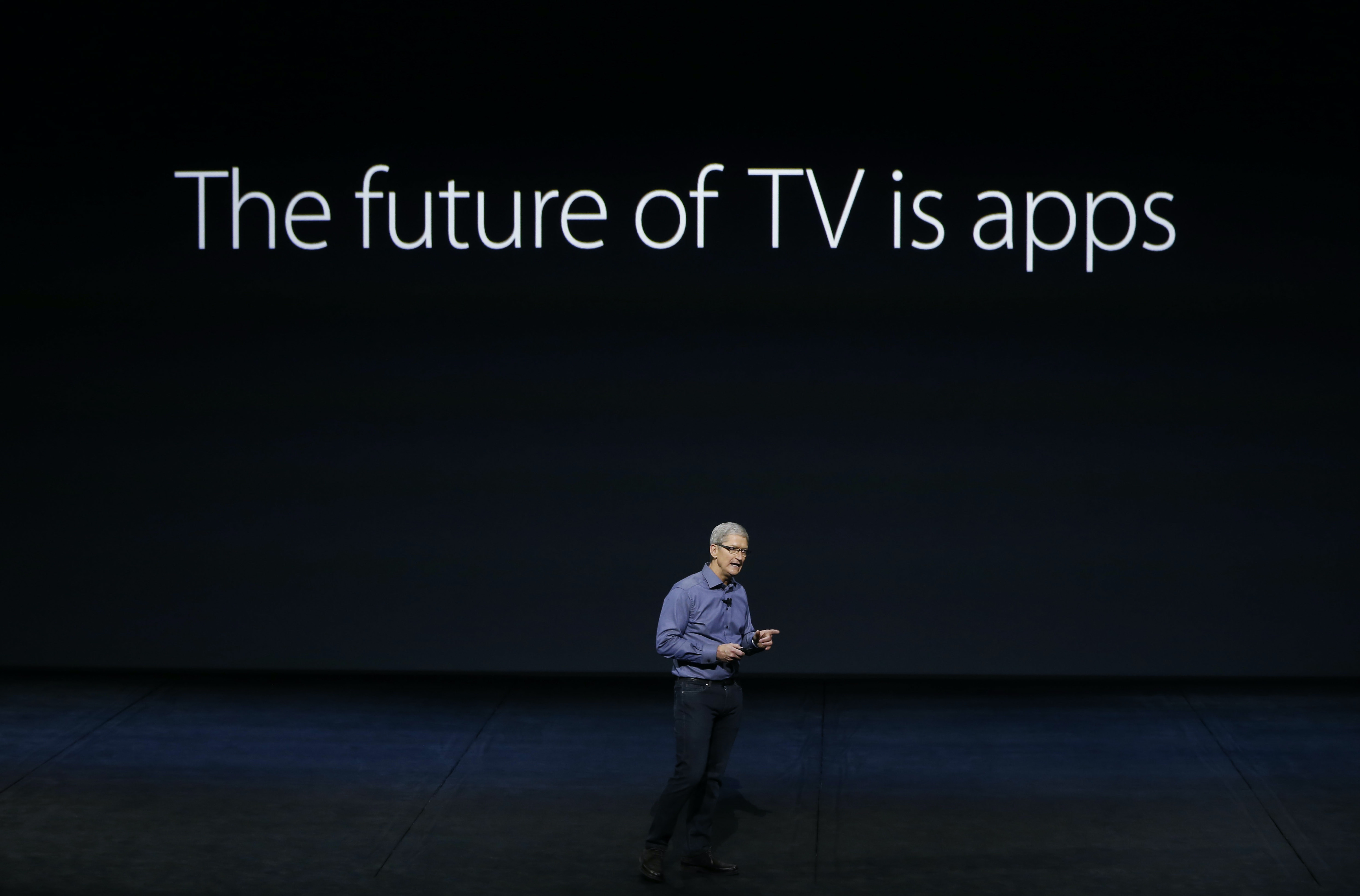 Apple's Tim Cook introduces the new Apple TV on September 9, 2015 in San Francisco.