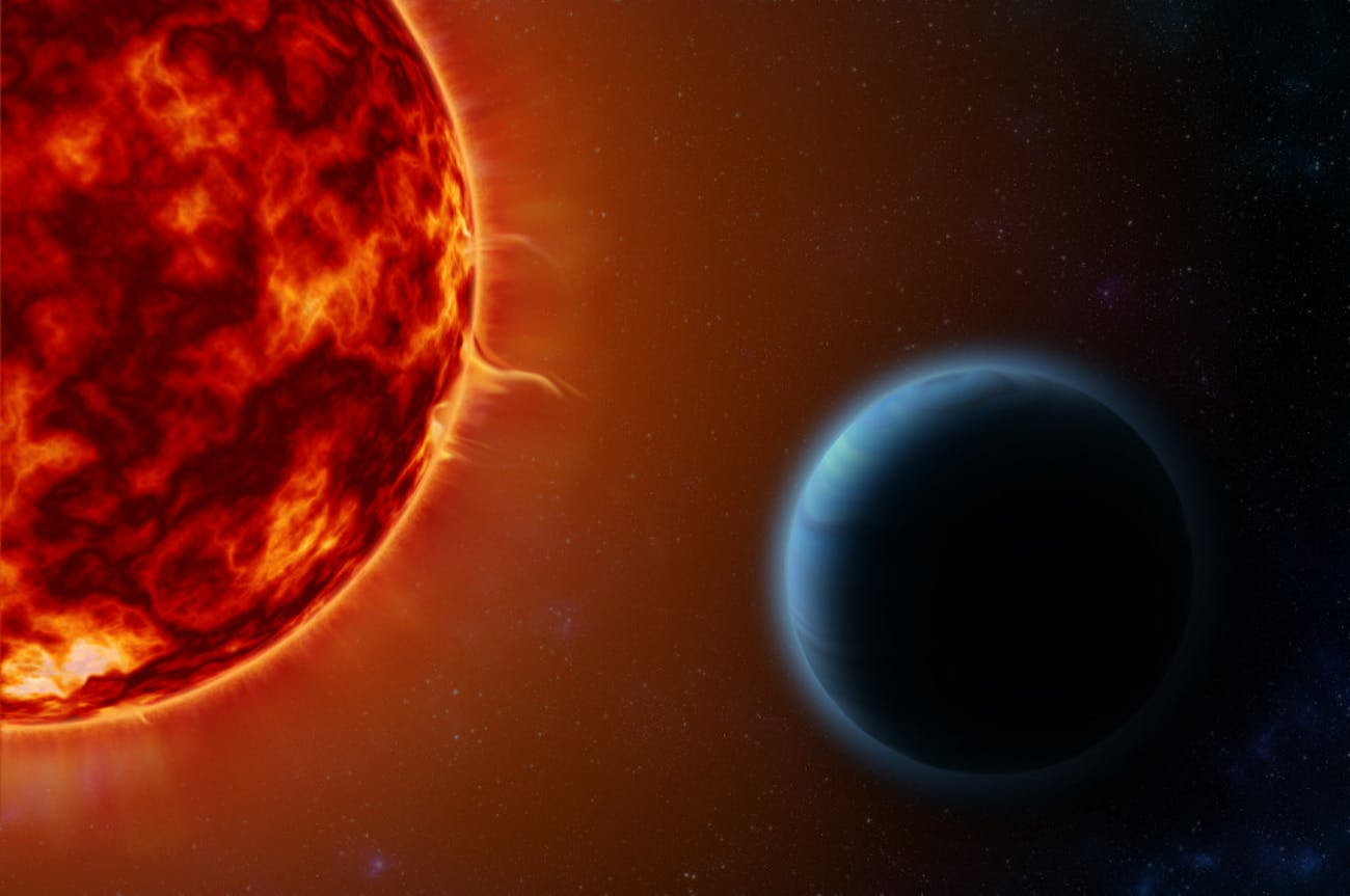 "HD189733b, an exoplanet known as a ""hot Jupiter,"" orbits its host star once every 53 hours. By examining the way its star's light is altered when the planet passes between the star and Earth, scientists on Earth used special instruments to detect the elements present in HD189733b's atmosphere. This included potassium, an element that has been theorized to exist in hot Jupiters but never before observed."
