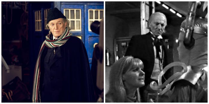 LEFT: David Bradley in 2013. RIGH: The 1st Doctor (William Hartnell) versus the old Cybermen.