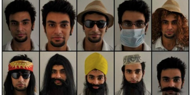 A sample of the accessories used in a study comparing the effect of different disguises on our ability to identify faces. The facial hair/wig combo is especially potent.