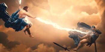 Zeus fighting Ares in 'Wonder Woman'.
