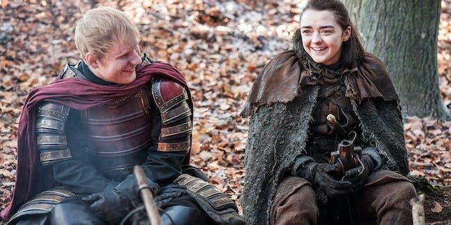 Maisie Williams and Ed Sheeran in 'Game of Thrones' Season 7 episode 1, 'Dragonstone'