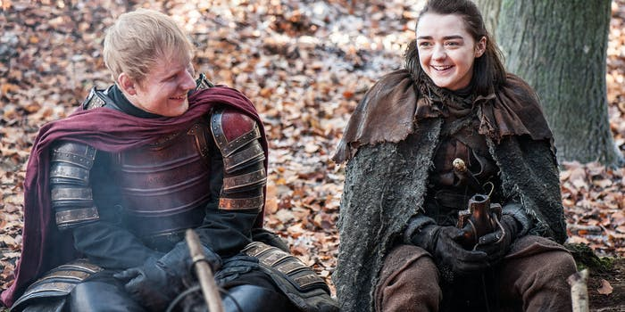 Maisie Williams and Ed Sheeran in 'Game of Thrones' Season 7 episode 1, 'Dragonstone'