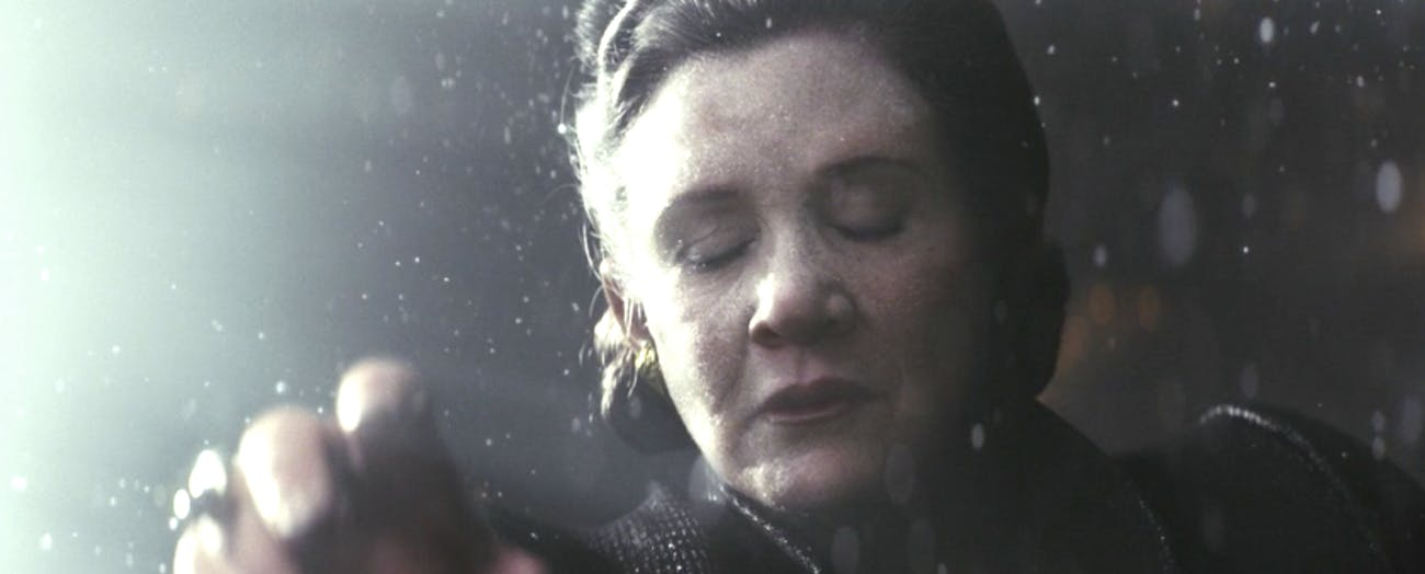 Leia in the vacuum of space in 'The Last Jedi.'