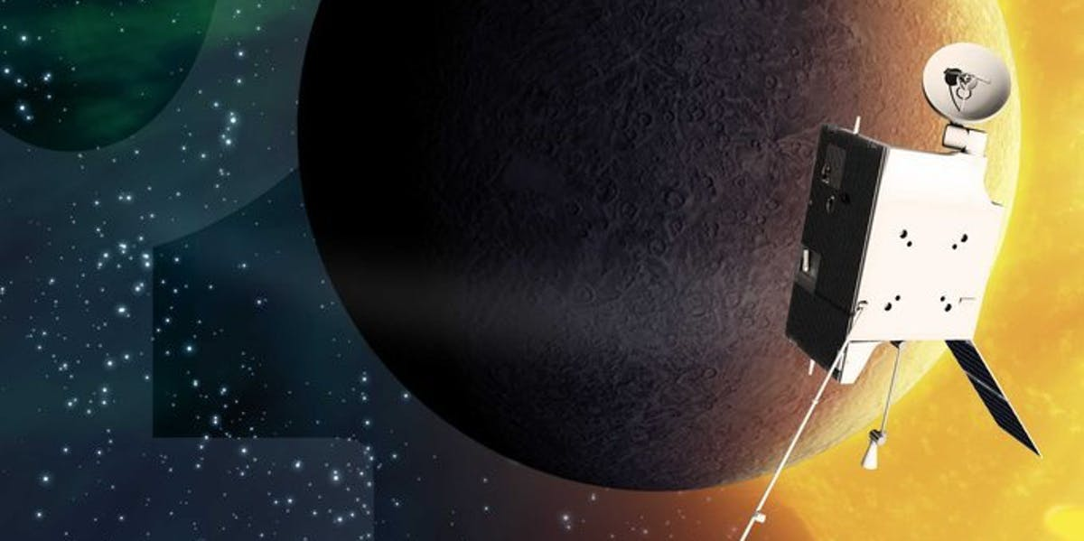 Artist's view of BepiColombo at Mercury