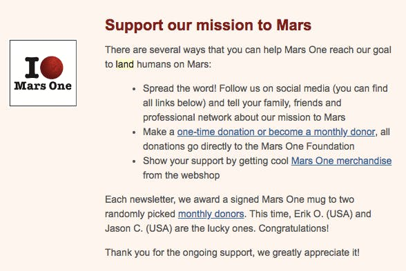 A Mars One fundraising email.