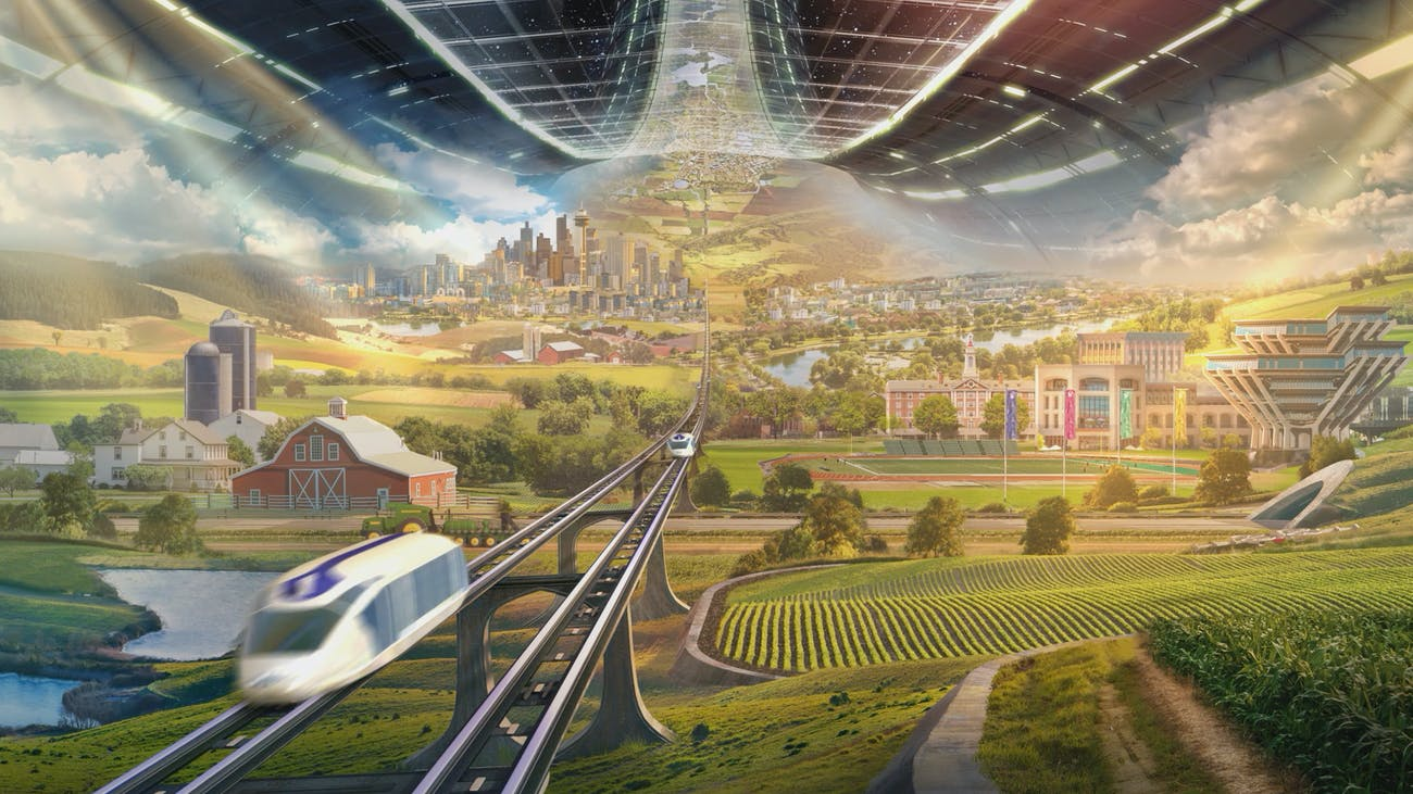 The high-speed transit system inside a colony, with a drone taking care of a farm.