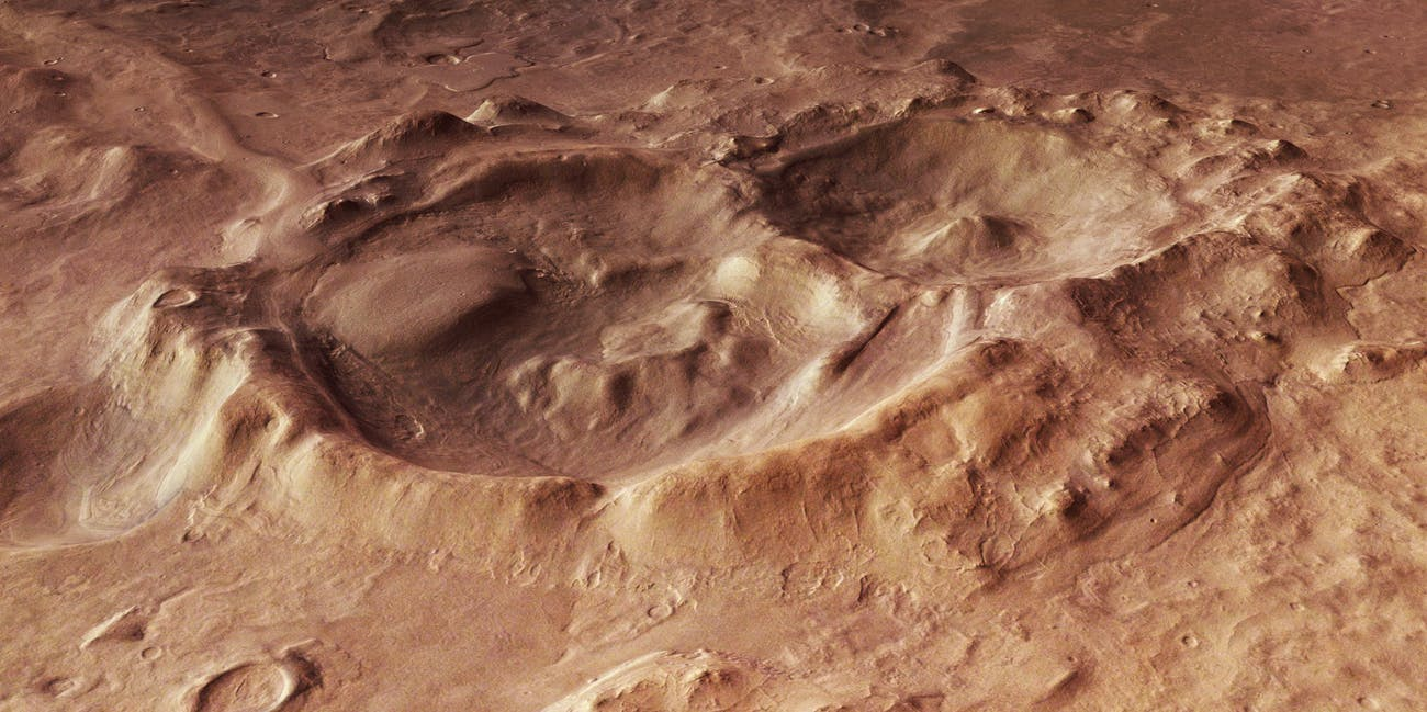 Perspective view of craters within the Hellas Basin