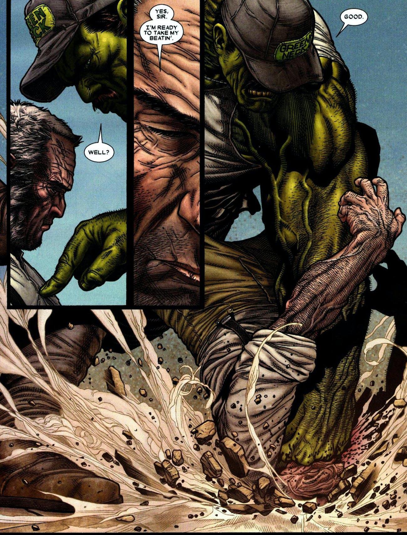 Logan refuses to fight one of Bruce Banner's Hulk descendants in Marvel's 'Old Man Logan'.