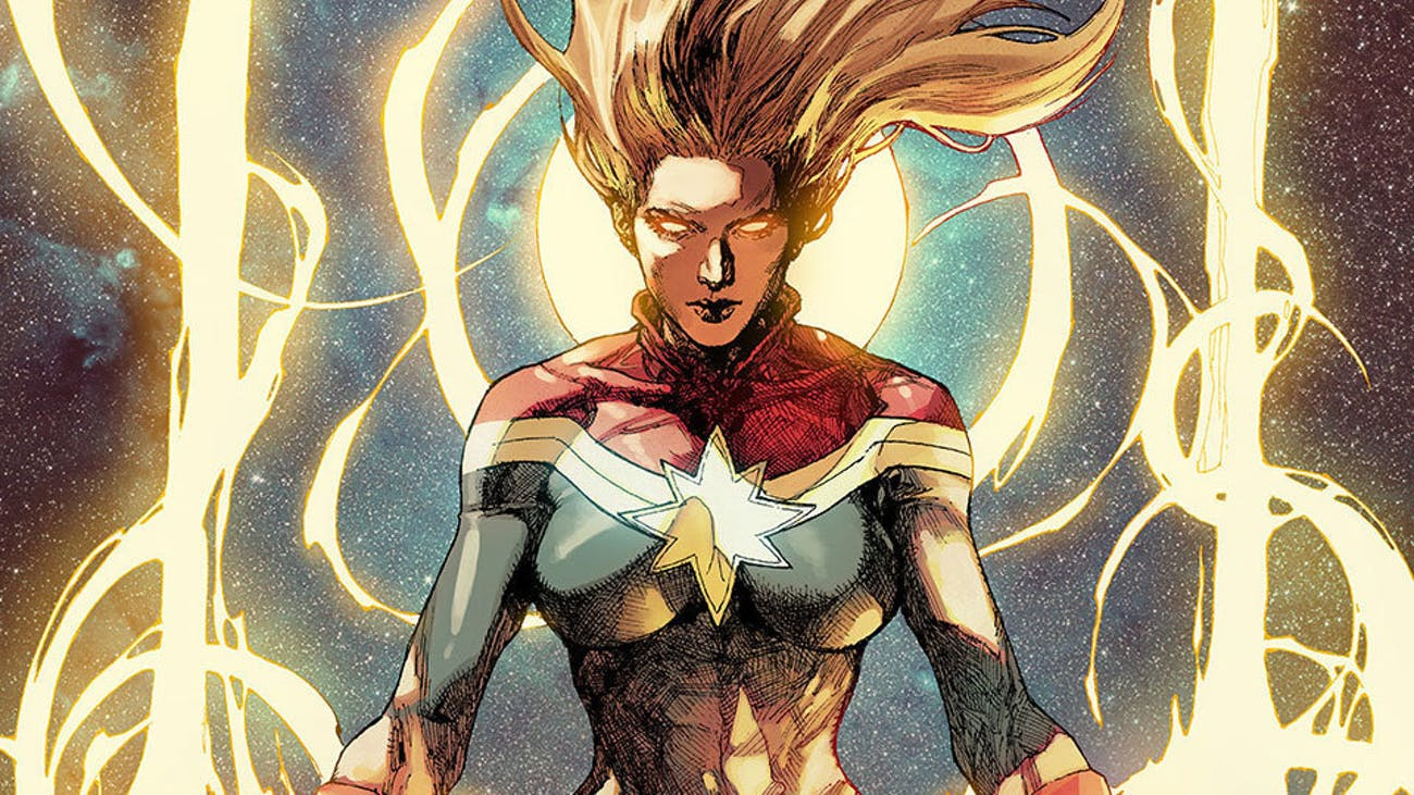 Carol Danvers as she appears on the cover of 'Captain Marvel (2014) #1'.