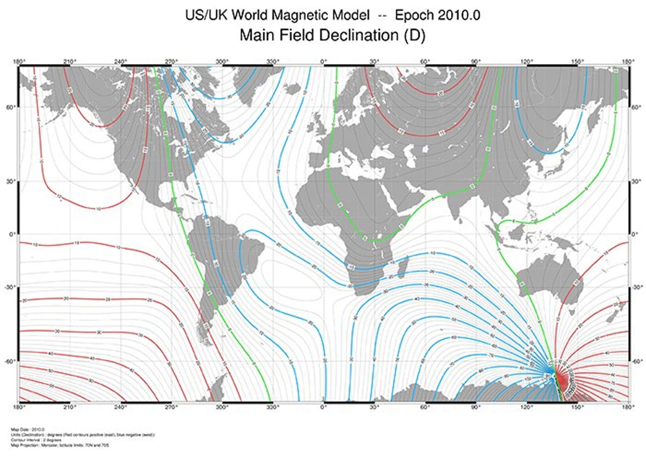 The 2010 WMM shows that the Earth's magnetic field is a lot more complicated than just north, south, east, and west.