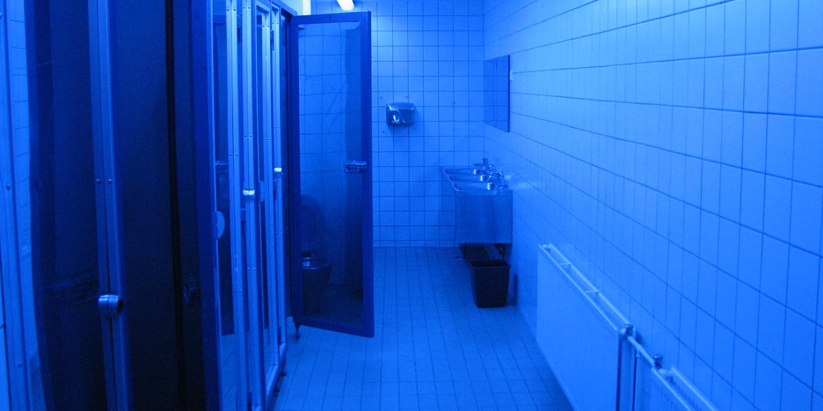 Why Use Bathroom Light Fixtures: Blue Lights To Deter Drug Users From Using In Bathrooms