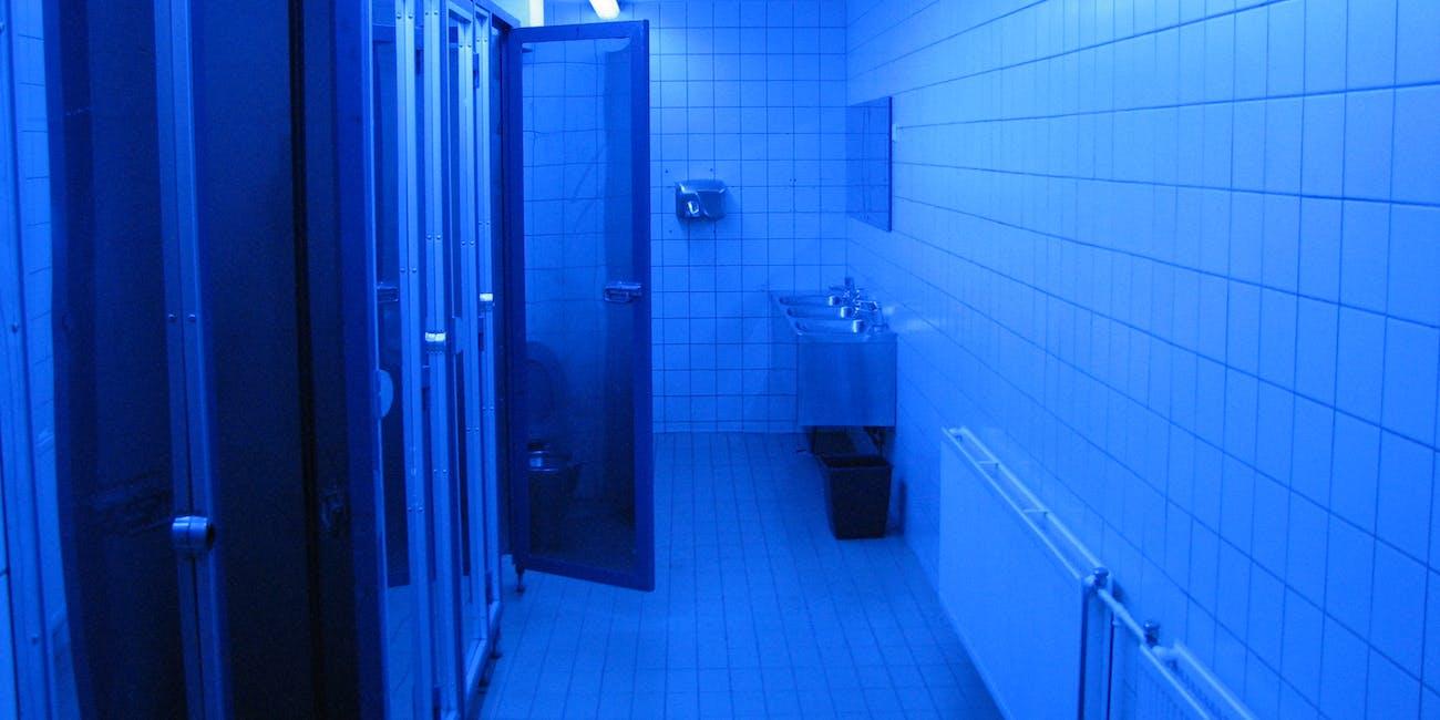 bathroom with blue lights