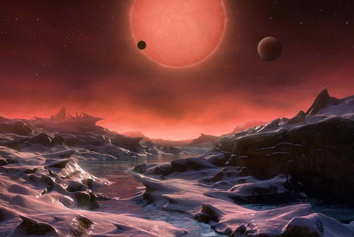 A rendition of the view from one of TRAPPIST-1's planets.