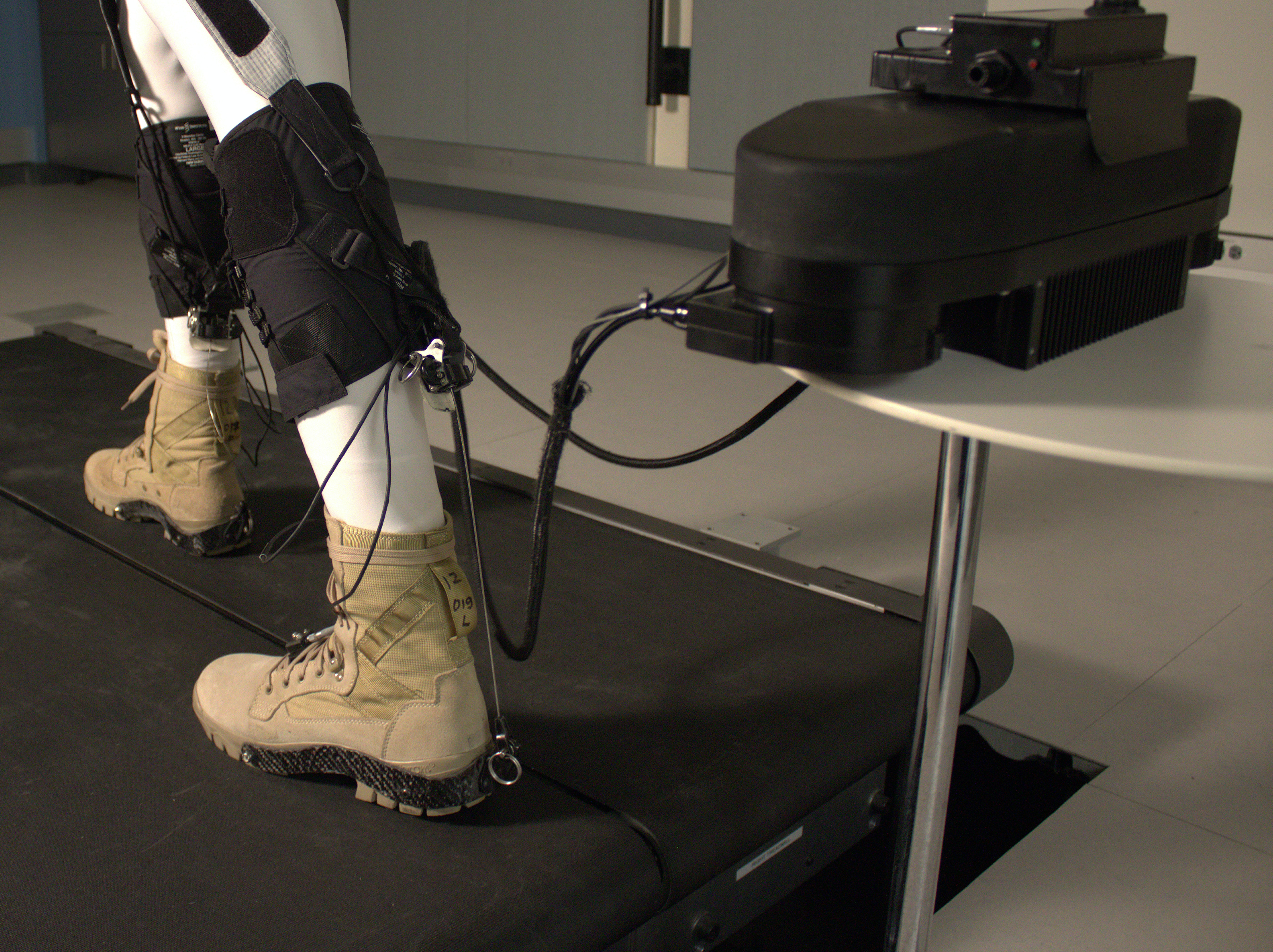 The robotic ankle, controlled by a motor, is attached to spandex straps  that connects to a waist band, allowing for both hip and ankle flexion.