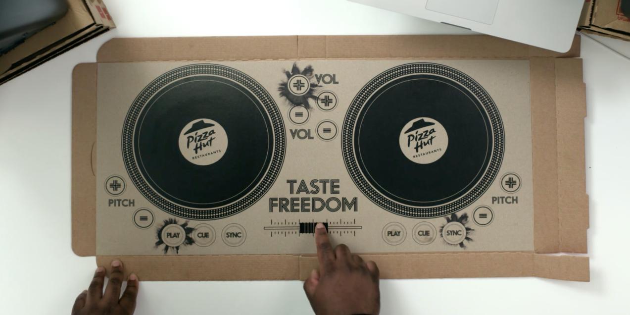 Pizza Hut UK offers DJ pizza box.