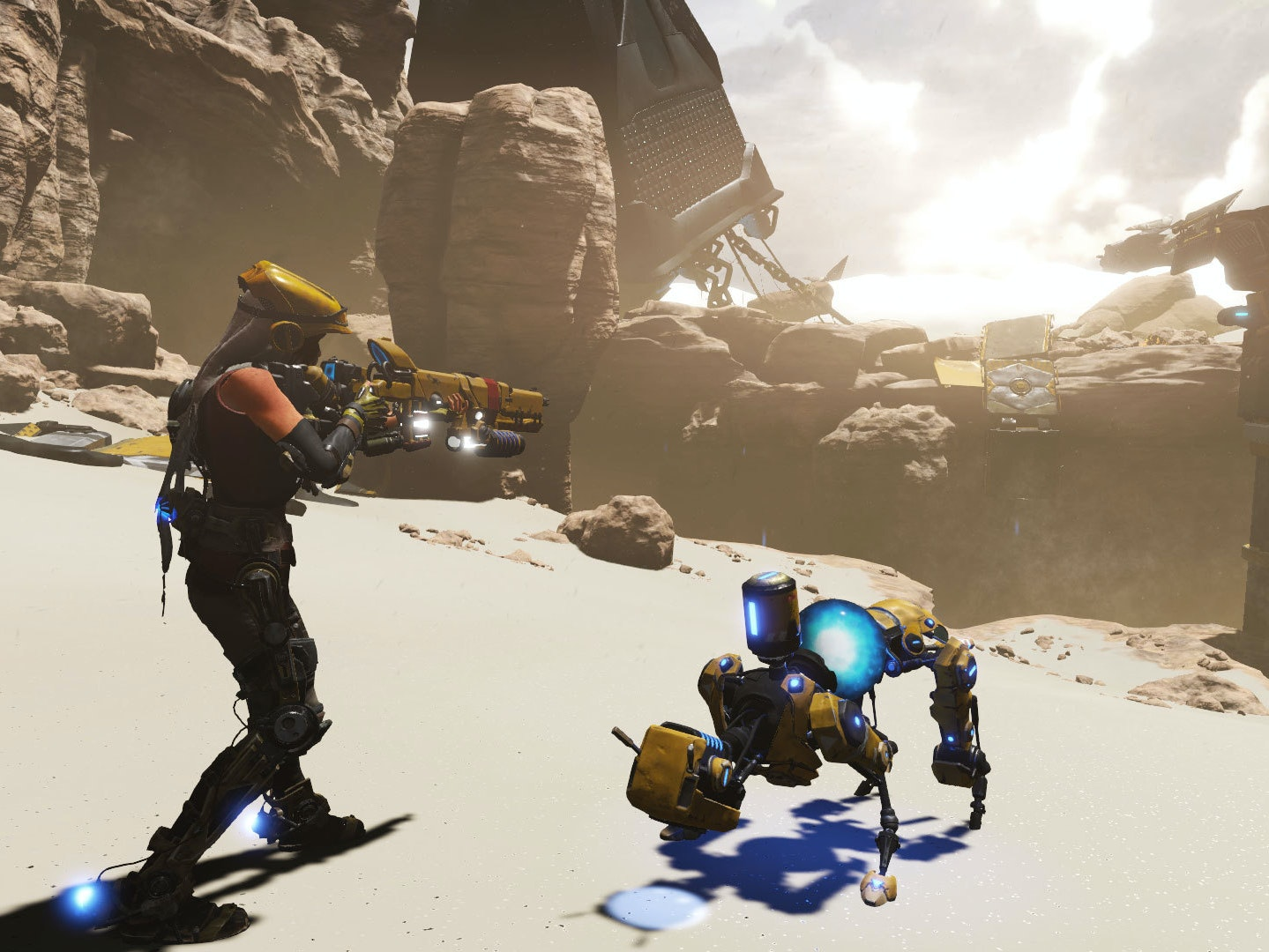 Joule and her Corebot companion Mack, in the early areas of 'ReCore' for Xbox One.