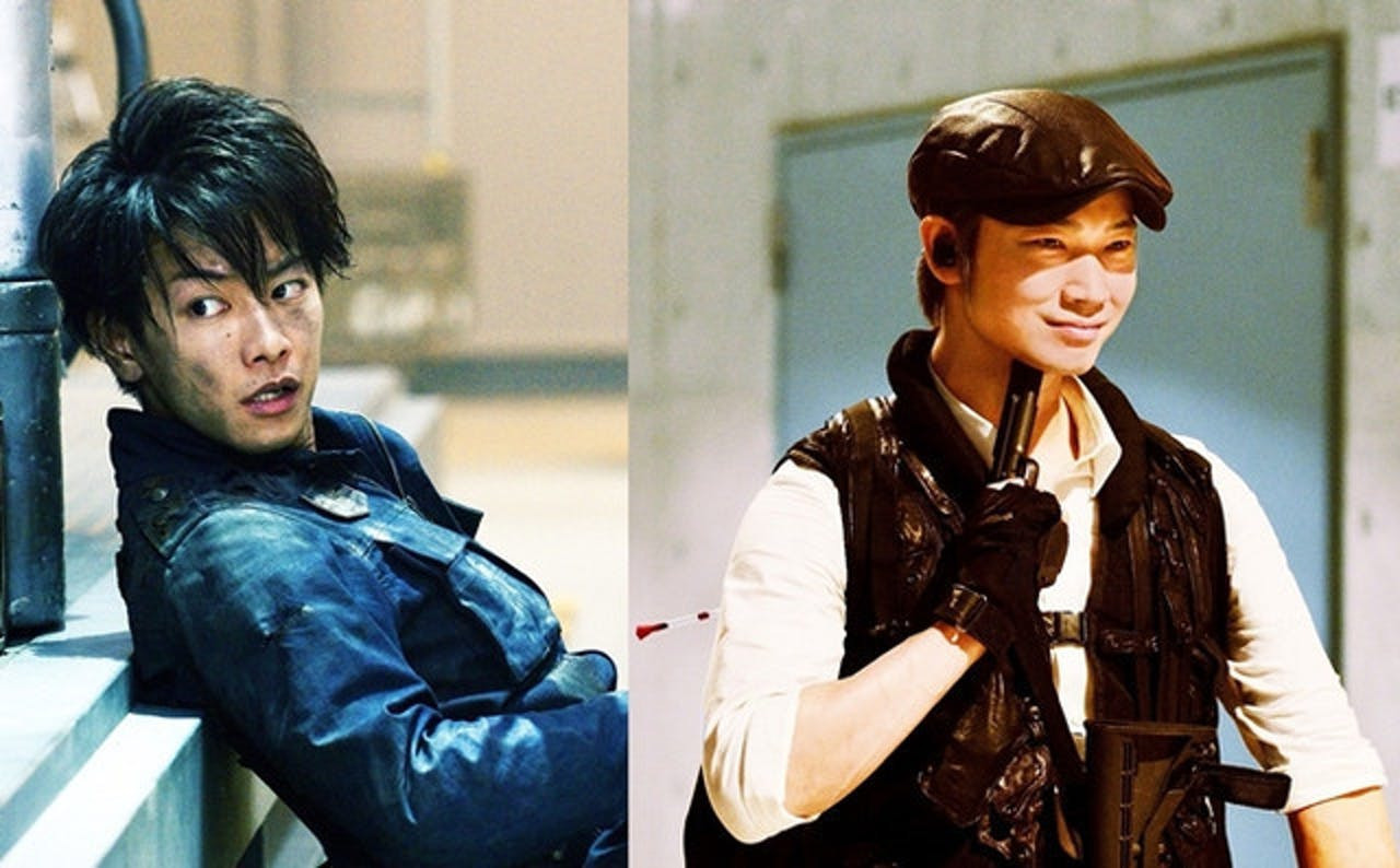 The film's hero, Kei Nagai, played by Takeru Sato, and its villain, Sato, played by Go Ayano.